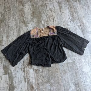 FREE PEOPLE Sequins Boho Wrap Blouse Oversized Fit